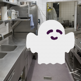 Pittsburgh Ghost Kitchen- Commercial Kitchen with Cartoon Ghost